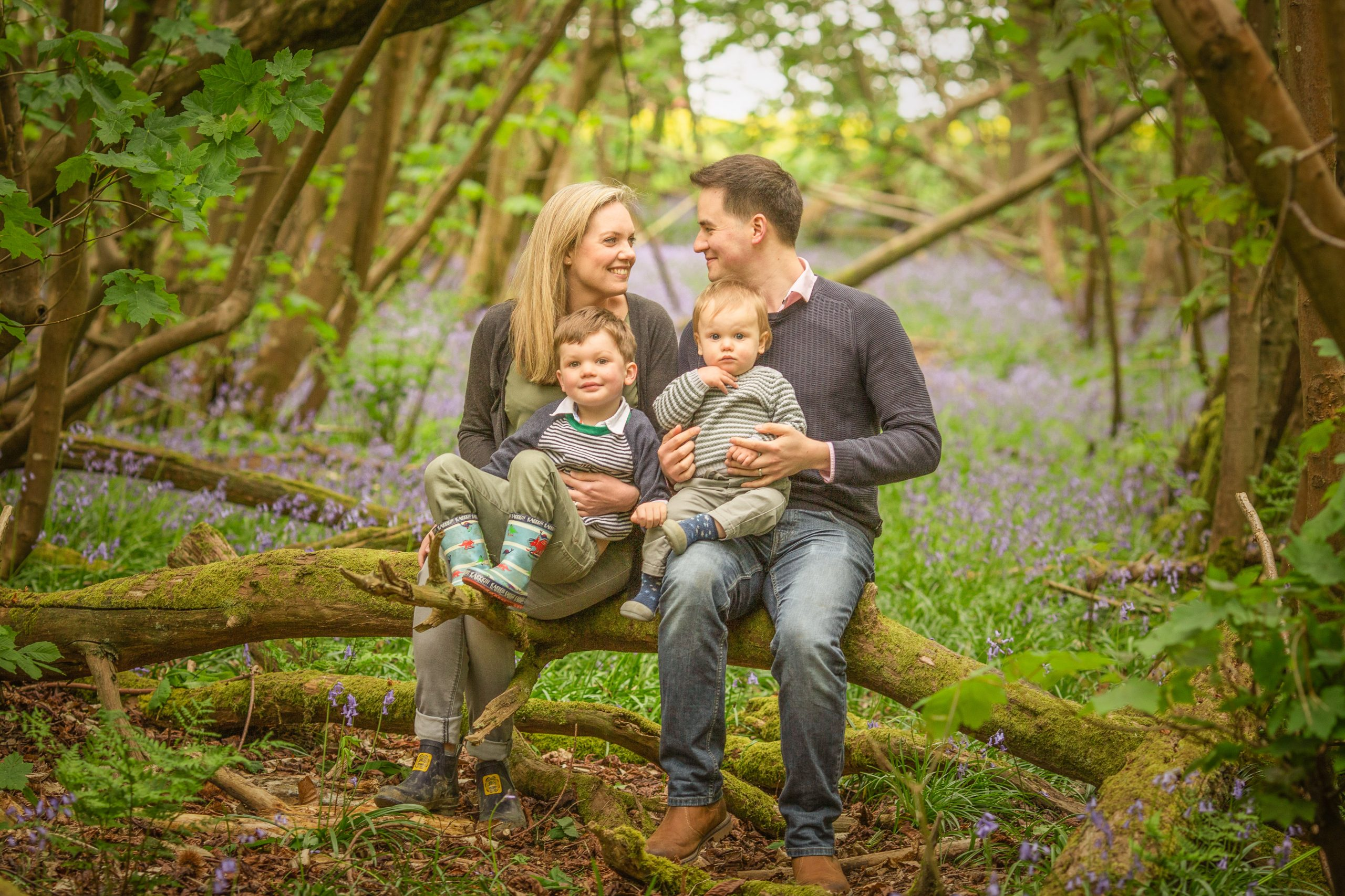 A family of four on a bluebell mini photo shoot