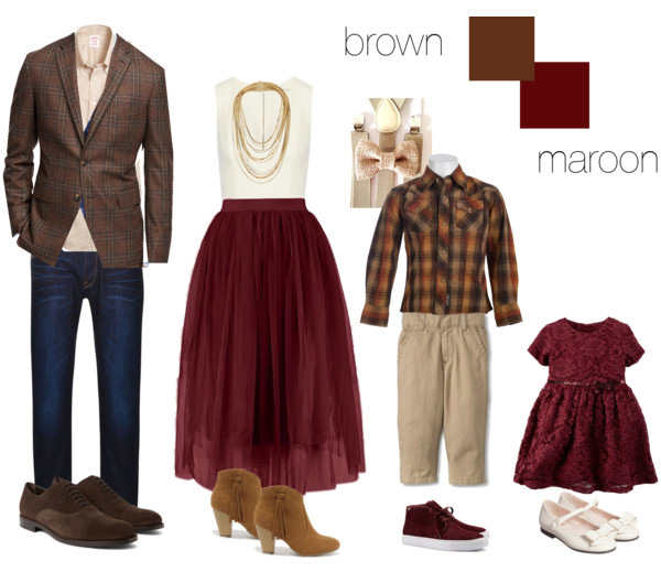 brown and maroon clothing suggestions for what to wear for your family photo shoot