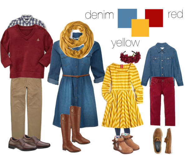 denim red and yellow clothing suggestions for what to wear for your family photo shoot