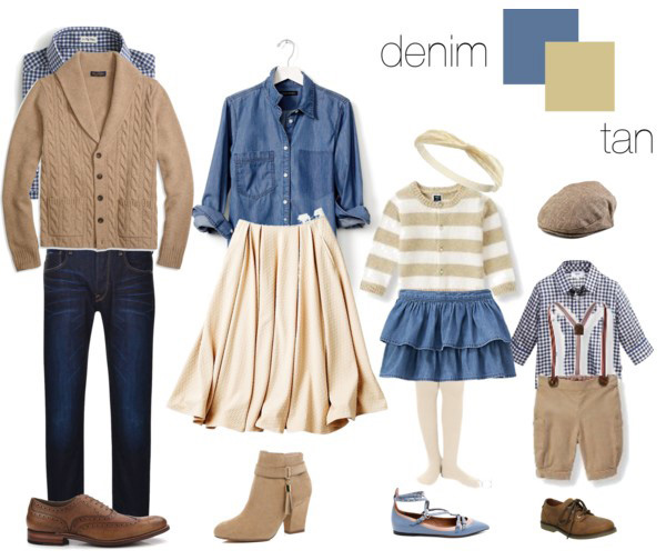 denim and tan clothing suggestions for what to wear on your family photo shoot