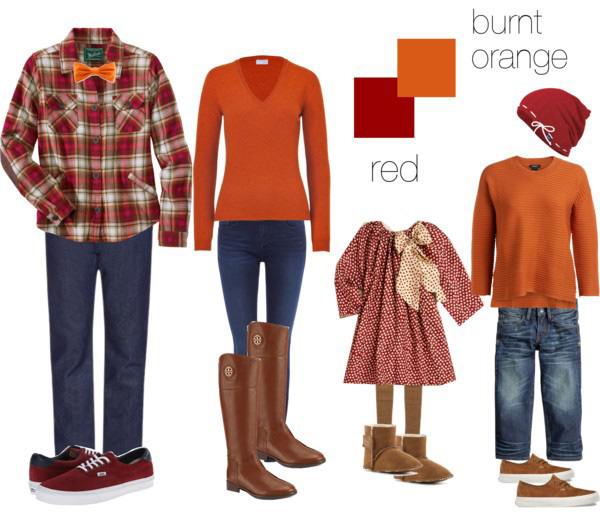 orange and red clothing suggestions for what to wear on your family photo shoot