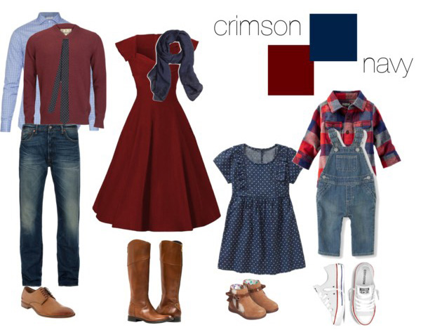 crimson and navy clothing suggestions for what to wear for your family photo shoot