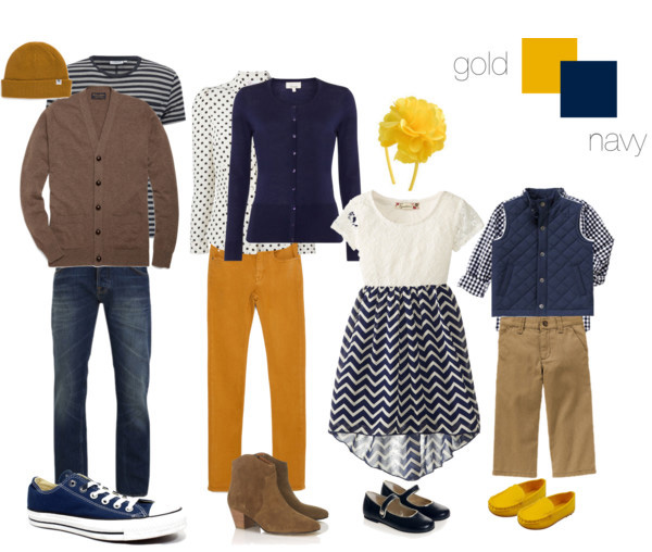 gold and navy clothing suggestions for what to wear for your family photo shoot