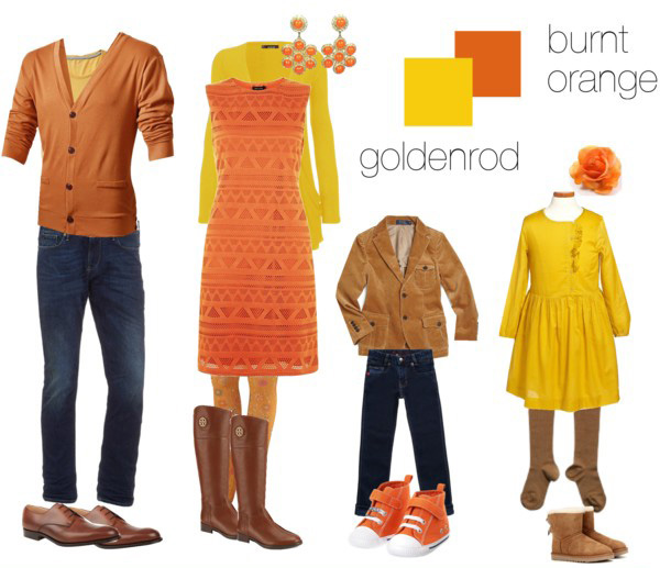 orange and gold clothing suggestions for what to wear for your family photo shoot